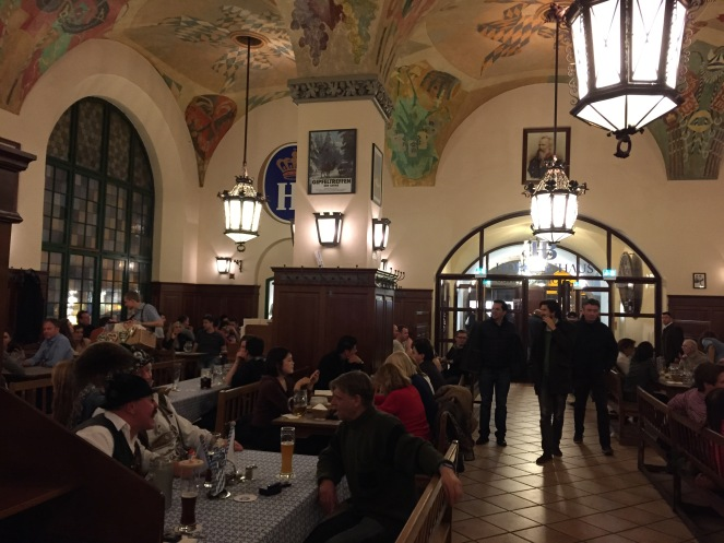 Inside the Hofbrauhaus. Note the happy old dude in the German hat.